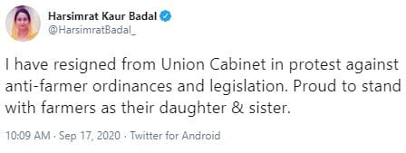 Tweet posted by India's minister for food processing Harsimrat Kaur Badal
