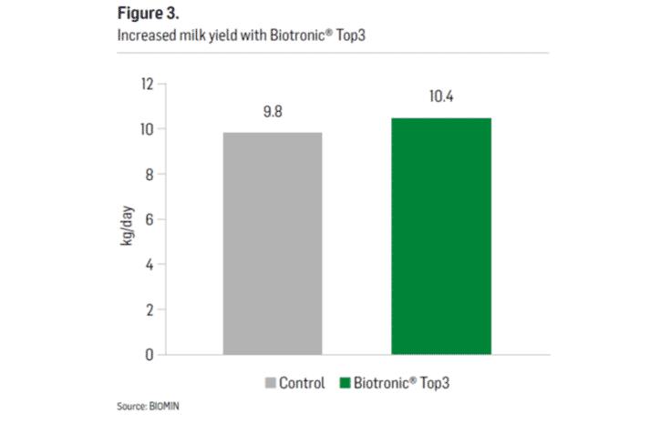Figure 3. Increased milk yield with BIOTRONIC® TOP3