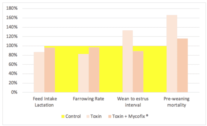 Figure 5. Effects of ZEN and DON on reproductive indices. The yellow area represents the control group, presented as 100 percent performance.