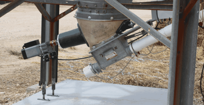 """The Flow Pro bin  agitator was developed to help  solve bridging and """"rat-holing""""  issues often seen with feed flow  in bulk feed tanks."""