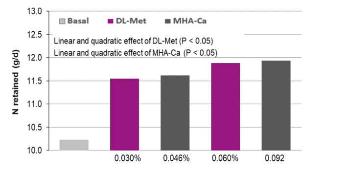 Figure 1. Effects of graded levels of DL-Met or MHA-Ca supplementation on N-retention (Exp. 1)