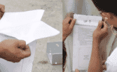 2) Remove the paper backing from the template and apply it to the hopper panel. thumbnail