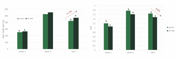 Figure 5. Results from a commercial farm trial at Landwirtschaftskammer Schleswig-Holstein 2017. HP 300 significantly improved weight gain and FCR in nursery pigs (P<0.05)