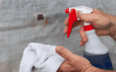 No matter which method selected, start by thoroughly cleaning the repair area on both sides of the curtain with mild soapy water.  Wipe the area dry with a clean towel. thumbnail
