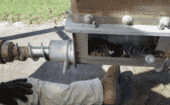 4) Lock the auger safety in place by attaching a locking plier to the flighting inside the boot. Warning; Failure to lock the auger in place may result in severe injury to the operator. thumbnail