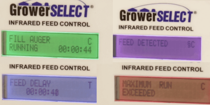 Color-coded display quickly informs the user of the operational mode.