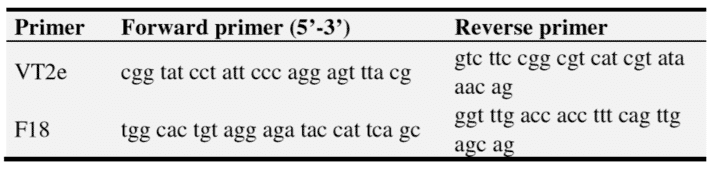 Table 2. PCR primers used to amplify F18 and Vt2e genes of E.coli in this study.