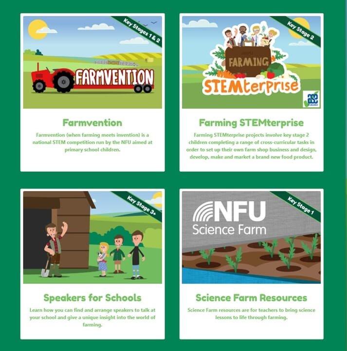 NFU Education resources for key stages 1 to 3+