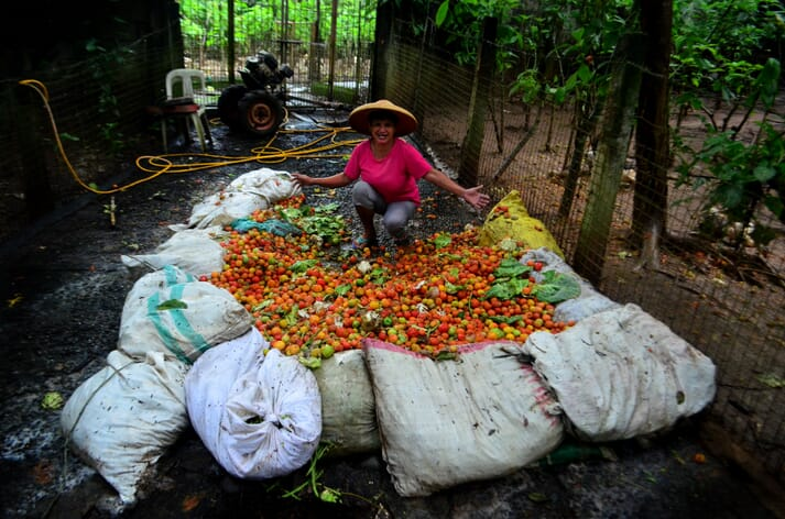 Colourfully-clad caretaker Jocelyn Barroga poses with sacks full of tomatoes, cabbages, stringbeans and other unsold vegetables sourced from the NVAT