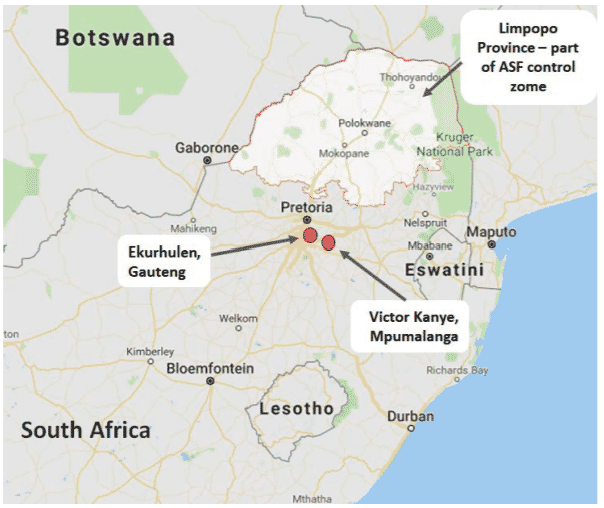 Map. 3: Location of ASF outbreaks outside the control zone in South Africa.