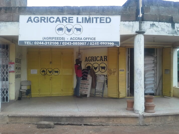 Agricare Limited Office, Ghana. Officials from Agricare told Efua Okai that while they are not putting pig feed on the shelves, they are interacting with the pig farmers, and are always ready to respond to their specific needs.