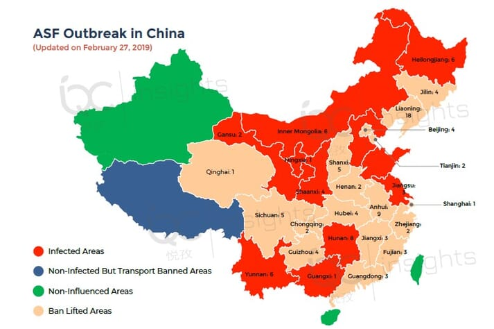 China's provinces can be classified into four groups based on the latest ASF developments in China