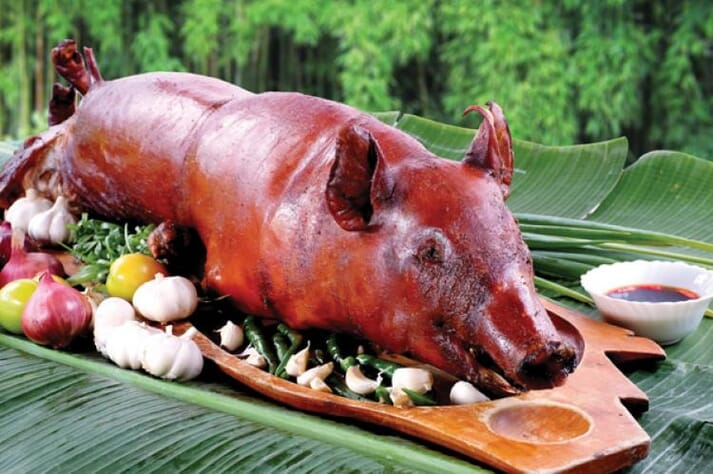 Lechon or whole roasted pig is still the most popular dish and an important status symbol for large family gatherings and festivals