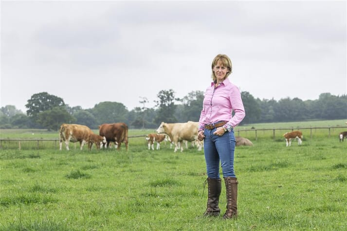 NFU President Minette Batters standing in a field of cows
