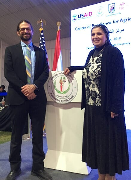 Paul Ebner, professor of animal sciences at Purdue, with Naglaa Abdallah, Chief or Party, Center of Excellence for Agriculture, at the project launch.