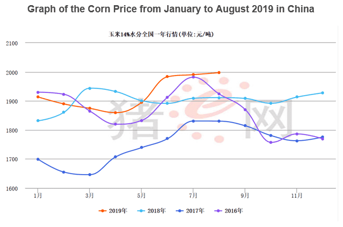 Corn prices from January to August 2019 in China