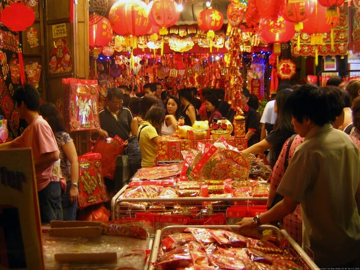 Open air market for Chinese New Year