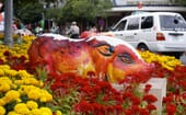 Flowers are a key part of new year decorations. They can symbolise peace, fertility, and status. They are shown here alongside a partially completed pig statue in Vietnam. thumbnail