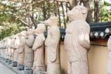 Statues of the 12 Chinese zodiacs stand proudly outside Haedong Yonggung Temple. The Year of the Pig follows the Year of the Dog and precedes the Year of the Rat.