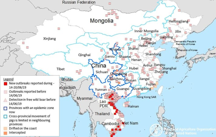 ASF situation in Asia (August 2018 to date)
