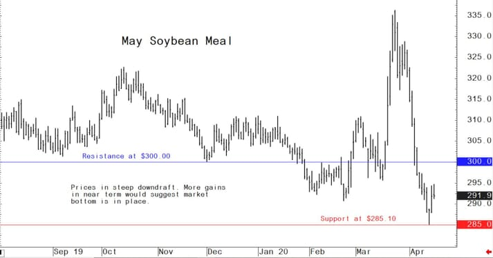 Soybean meal prices in steep downdraft