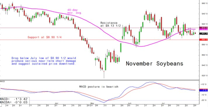 Drop below July low of $8.90. 1/2 would produce serious near term chart damage and suggest a sustained price downtrend.