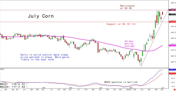 Corn markets corrected Monday's gains, but were still up from previous levels