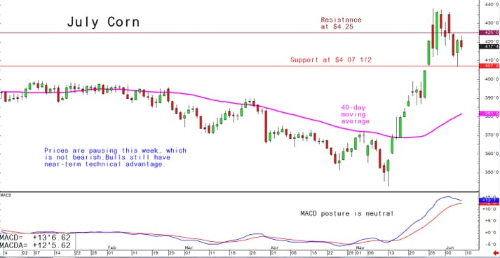 Prices are pausing this week, which is not bearish. Bulls still have near-term technical advantage.