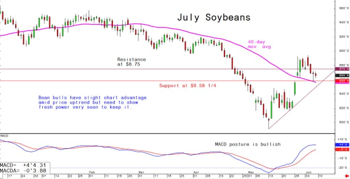 Bean bulls have slight chart advantage amid price uptrend but need to show fresh power very soon to keep it