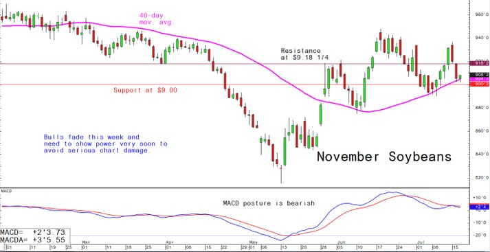 Bulls fade this week and need to show power very soon to avoid serious chart damage