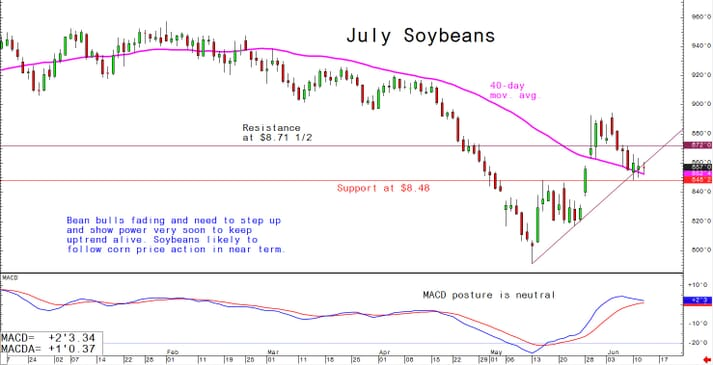 Bean bulls fading and need to step up and show power very soon to keep uptrend alive. Soybeans likely to follow corn price action in near term