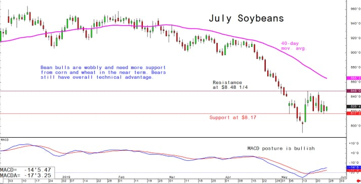 Bean bulls are wobbly and need more support from corn and wheat in the near term. Bears still have overall technical advantage