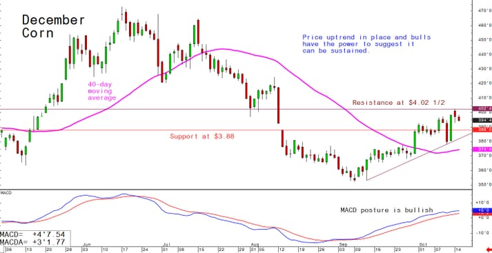 Price uptrend in place and bulls have the power to suggest it can be sustained
