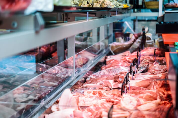meat in a deli counter in a supermarket