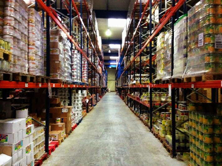 food products stockpiled in a warehouse