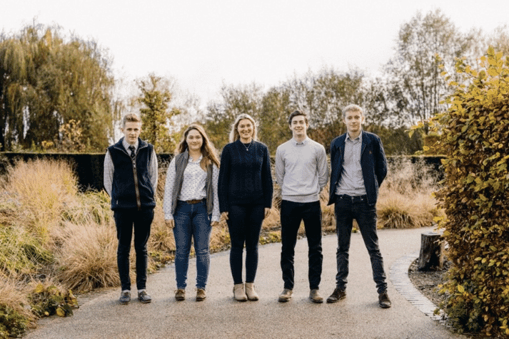 Pictured L-R are Trystan Williams (RAU), Elena Chapman, (RAU), Christabel Bishop (RAU), Elliot Cole (Reading) and Ed Fearnall (Reading)