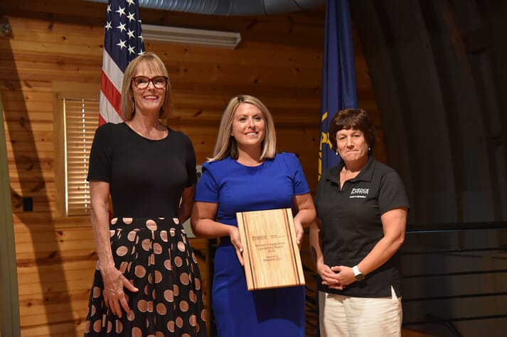 Suzanne Crouch, Natasha Cox and Karen Plut with the Women in Agriculture Award