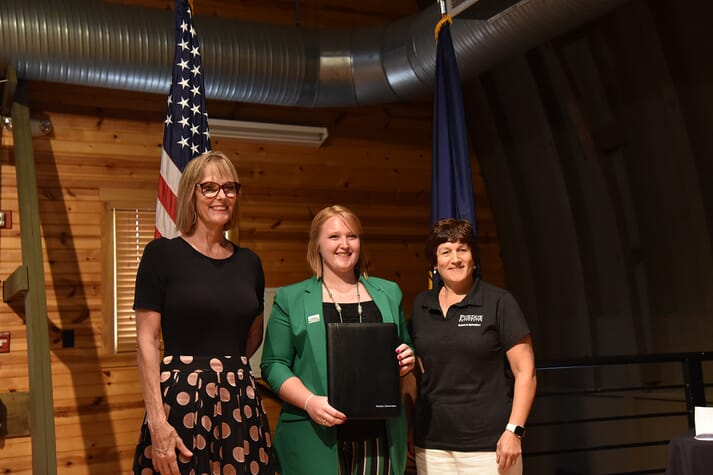 Suzanne Crouch, Madelyn Zimmerman and Karen Plut with the Women in Agriculture Award
