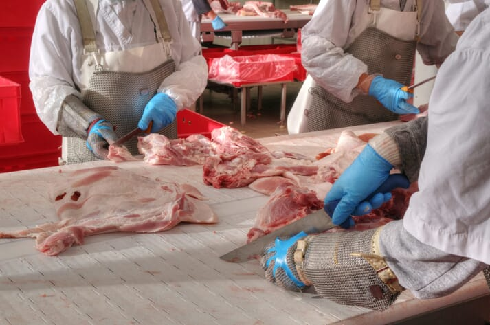meat plant workers cut meat in an elbow-to-elbow system
