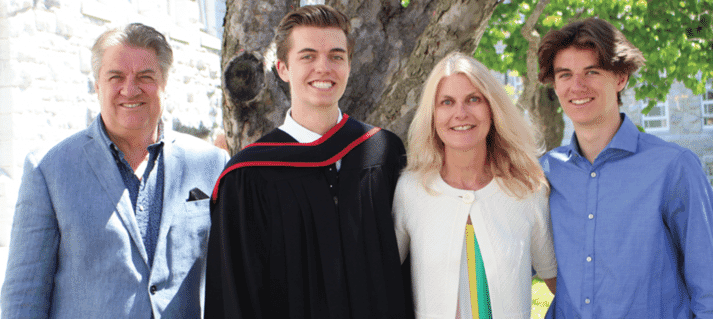 Jim Long, with wife Sarah and sons Spencer and Aidan at Spencer's graduation convocation from Queen's University