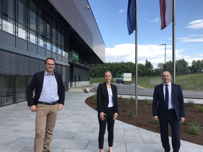 Franz Waxenecker - Managing Director of Biomin, Barbara Rüel - Head of Global Product Management Animal Nutrition at Biomin and Regional Council Member for Upper Austria Max Hiegelsberger at the new Biomin production facility in Haag am Hausruck, Austria.