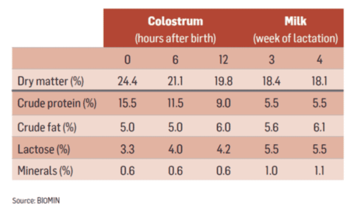 Table 1 - Comparison of nutrient content in sow colostrum and sow milk