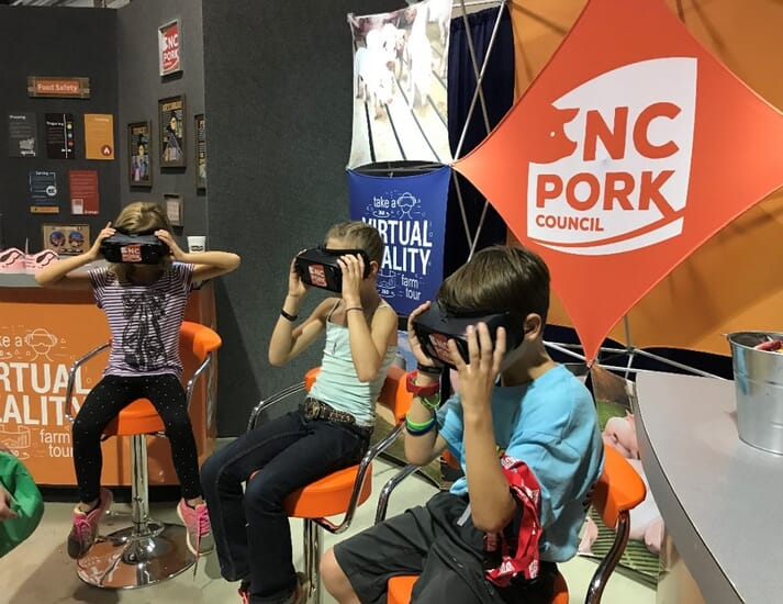 Virtual reality headsets used to demonstrate farm procedures
