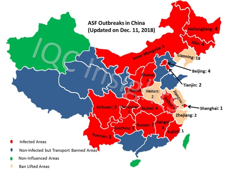 Map Of China And Surrounding Areas.African Swine Fever In China 87 Cases And Counting The Pig Site