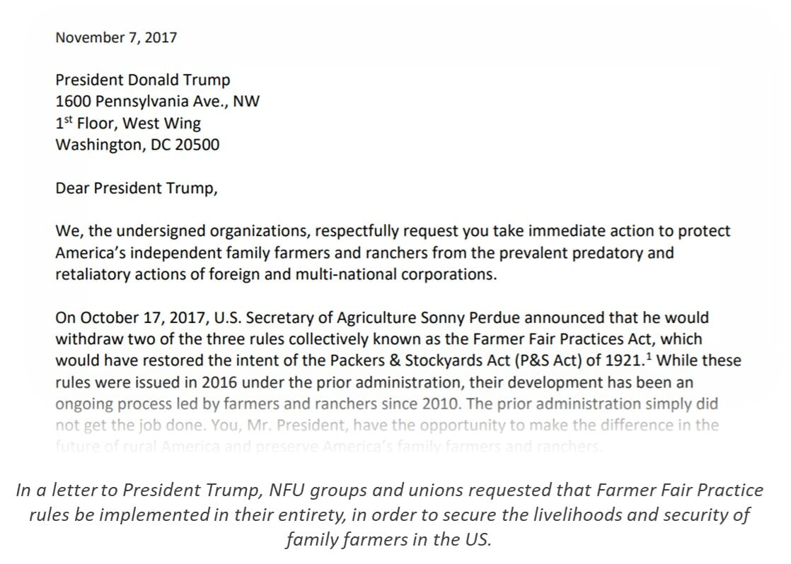 NFU: Letter to Trump