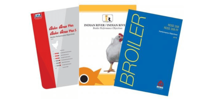 front covers of three booklets branded in Arbor Acres, Indian River and Ross Club