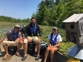Clemson graduate students Emily Miller (right) and Jacob Shurba, (center), pictured with technician Jake Merendino, completed a pilot study for the project in 2019 on Lake Moultrie, banding and tagging ducklings and hens and are now tracking recruitment rates of ducks using 169 boxes in the study area.
