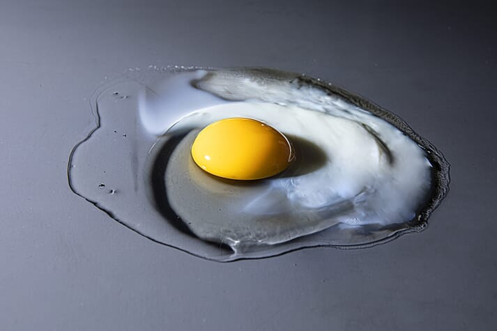 When heated, the proteins in the originally transparent chicken egg white form a tightly meshed, opaque network.