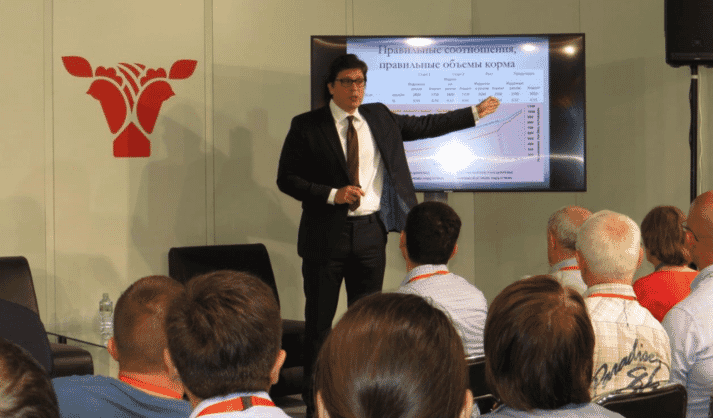 Aviagen speaker addressing an audience at Meat and Poultry Industry exhibition in Moscow