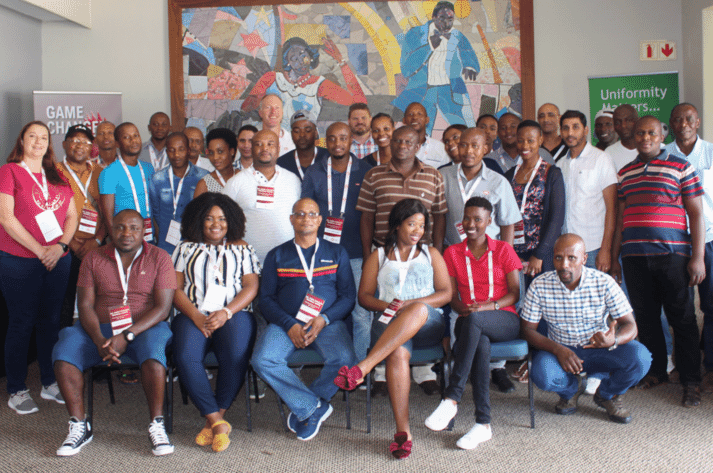 Attendees from the African Poultry Development Ltd. technical school pose in Lusaka, Zambia.